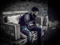 Survivor (julinnighost) Tags: adios beard black camera dark explorer gesture goodbye hot libre model pose photo relax secondlife survivor tattoo vitualworld vitualboy vitualgame wow