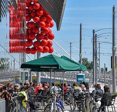 Red balls (maytag97) Tags: portlanddowntown maytag97 nikon d750 people urban city portland oregon street art ball red outdoor outside sunlight sunlit cafe window reflection