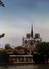 Notre Dame 1987: Paris was my first trip abroad. I took this photo from the I'le saint louis on my third trip to Paris. My heart goes out to the people of Paris and France. (remiklitsch) Tags: spire flyingbutress architecture gothic iconic iledelacite paris notredame 1987 cathedral ilesaintlouis city urban france remiklitsch kodak