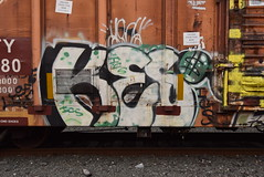 KESO (TheGraffitiHunters) Tags: graffiti graff spray paint street art colorful benching benched freight train tracks boxcar keso