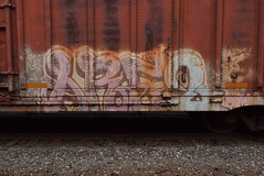ARE2 (TheGraffitiHunters) Tags: graffiti graff spray paint street art colorful benching benched freight train tracks boxcar are2