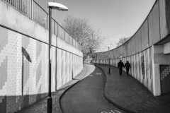 lovers lines (Paul Wrights Reserved) Tags: leadinglines vanishingpoint leading streetphotography street unde underpass london londonstreets blackandwhite lovers love shadow shadows lampost lamp concrete pa pathway