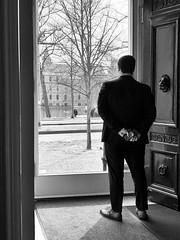 The man in black... (Ageeth van Geest) Tags: security hofvijver bredius museum den haag blackandwhite monochrome bw zwartwit iphone