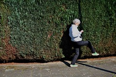 Playing with and testing, among other things, the principle of euphony itself (dorofoto) Tags: 365 woman walk hedge shadow sidewalk sillywalks