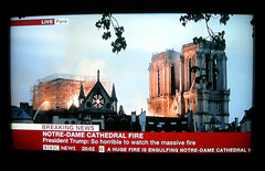 Notre-Dame Cathedral on Fire (Owen J Fitzpatrick) Tags: fire notre dame paris france french capital city tragic disaster tragedy owen j fitzpatrick inferno photo tv pictures picture live april 15 15th 2019 landmark ojf joe natural unposed building architecture medieval scaffolding gothic tower christian catholic church religion religious world famous 1260 our lady destroyed catastrophe attic
