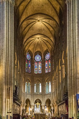 Notre Dame Cathedral - Paris (Jill Clardy) Tags: europe france notredame paris vantagetravel cathedral church glass rivercruise stained window 4b4a7991 nave chapel interior our lady vaulted ceiling