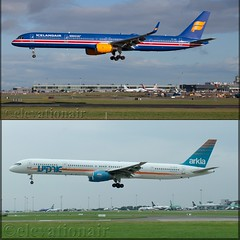 Same aircraft operating with different carriers, taken from the same location but 14 years apart. The difference in the landscape reflecting the capacity increases at Dublin Airport. (elevationair ✈) Tags: 4xbawtfisxboeing757753