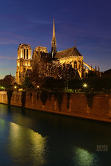 """Notre Dame Cathedral at night (IronRodArt - Royce Bair (""""Star Shooter"""")) Tags: notredame notredamecathedral cathedral church gothic architecture france catholic paris nightphotography bluehour bluehourphotography seineriver religion"""