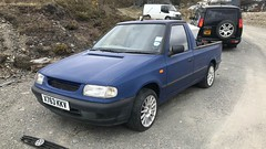 (Sam Tait) Tags: diesel wales farm car derelict mine abandoned frongoch midi mini blue truck up pick caddy vag vw volkswagen skoda