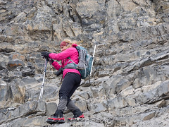 Natasha descending the crux (David R. Crowe) Tags: outdooractivities scrambling canmore ab canada