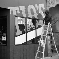 ptrm (pavel photography) Tags: street streetwork bar wallwriting rangefinder superikonta 6x6film columbus vintage120camera vintagecamera blackandwhitefilm bwfilm mediumformatfilm monochrome mediumformat