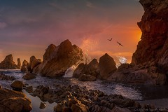 Corona Del Mar (Candice Staver Harris) Tags: clouds surf waves beach goldenhour rockycoast seascape ocean sunset southerncalifornia california newportbeach coronadelmar