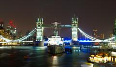 Tower Bridge & HMS Belfast (jamesdavidboro2) Tags: london tower bridge night hms belfast sony nex f3 takumar smc 55mm vintage lens slow shutter britain england river thames history