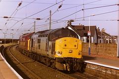 EWS TRANSRAIL LIVERIED 37802 + 37886 (bobbyblack51) Tags: british railways ews class 377 english electric coco diesel locomotives 37802 37886 newton on ayr station 1997