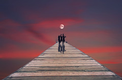 Shoot the moon (charhedman) Tags: composite allimagesaremyown pier moon sunsetsky silhouettes shadows shootthemoon photoshop