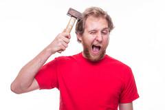 507372145 (Daniel0556) Tags: anger beard disappointment fool hammer harakiri hitting holding humanhead makingaface men mouthopen nail pain physicalinjury scolding skull strike suicide tap whitebackground worktool psychosis