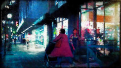 out and about (migueldeozarko) Tags: sidewalk shopping night painterly