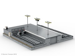 Platform End with Buffer Stop (Odense Banegård) (dennis.tomsen) Tags: module lego moc odense banegård design platform ldd train station track studio render building roof railroad legodigitaldesigner end bufferstop