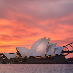 Sydney Burners (Jay Daley) Tags: travel destination famousplaces locations colour clouds australia sydneyaustralia sydneyharbour operahouse sunset sydney