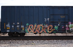 Quote (quiet-silence) Tags: graffiti graff freight fr8 train railroad railcar art quote gk boxcar aok aok116720