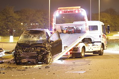 Road To Recovery (Yorkshire Pics) Tags: 1704 17042019 17thapril 17thapril2019 carcrash caraccident roadtrafficcollision roadtrafficaccident garforth incident writeoff damage damaged