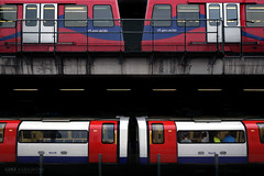 Trains above and below, Canning Town (Luke Agbaimoni (last rounds)) Tags: london londonunderground londontube train symmetry transportforlondon trains