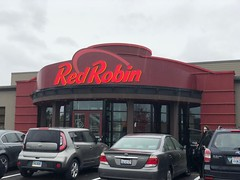 Day 38: Red Robin restaurant (Thunderstormnightmare) Tags: raining marysvillewa windows dinner unlimitedpictures unlimitedpicture unlimitedphoto unlimitedphotos challenge picturechallenge photochallenge april spring parkinglot cars rain clouds red restaurant redrobinrestaurant