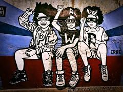 Graffiti in Cartagena (Alexander H.M. Cascone [insta @cascones]) Tags: south america southamerica colombia latinoamerica latin latinamerica hispanic cartagena de los indios graffiti art wall street painted paint getsemani pwr kids teens youth teenager erre fist power raised protest glasses