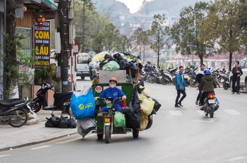 Garbage motocycle in Sapa Vietnam