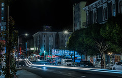 geary at van ness avenue (pbo31) Tags: sanfrancisco california nikon d810 color night dark black city urban april 2019 pbo31 boury lightstream roadway traffic motion vannessavenue cathedralhill infinity blue neon hotel geary street sign