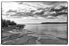 Surprise Beach (maureen.elliott) Tags: blackandwhite blackandwhitephoto landscape nature beach cove clouds shoreline lakehuron