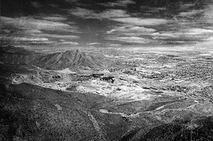 West Texas Viewed from Franklin Mountains (kinglear55) Tags: landscape film filmisnotdead ishootfilm ilfordxp2 olympus om10 elpaso texas monochrome blackandwhite texture