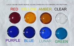 RAILROAD SIGNAL GLASS IN A.A.R. COLOR  DISCRIPTION (brian.m.rule241) Tags: railroad signal glass lens corning cvx 1915 pattern semaphore color aar red yellow amber clear purple blue lunar green wiki google yahoo antique vintage ebay restoration collecting industrial porn united states america railway borosilicate nonex signalling grs ussco federal tgeostilesco johnson conrail penncentral nynhhrr new haven track rule aspect indication