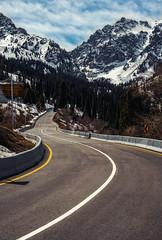 Mountain Road (free3yourmind) Tags: mountain road travel trip snow peak almaty kazakhstan lines medeu