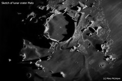 "Lunar Crater ""Plato"" Sketch (Mary McIntyre nee Spicer) Tags: astronomysketch moonsketch astronomy art stabilocarboothello pastelpencils moon lunar sketch"