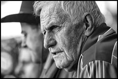 Handsome older gent (Frank Fullard) Tags: frankfullard fullard candid street portrait gent handsome rugged crpkepark gaa fan mayo irish ireland monochrome black white blanc noir dublin redandgreen 2013 football allireland final