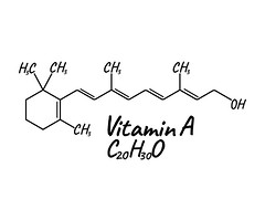 Vitamin A Label and Icon. Chemical Formula and Structure Logo. Vector Illustration (Patricia W.) Tags: vitamin chemical formula structure vector text font logo icon illustration label health composition blood compound carbon oxygen atomic biochemistry molecular scientific healthcare chemistry science lifestyle concept molecule pharmaceutical natural care medical mineral design diet medicine complex supplement multi healthy organic food pharmacy corporate template chart juicy poster world nutrition