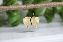 1S7A0573 (joeviejewelry) Tags: brass guitar pick earring hammered blank