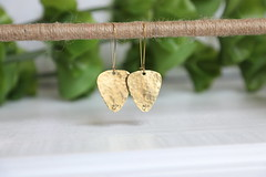 1S7A0629 (joeviejewelry) Tags: brass guitar pick earring hammered blank