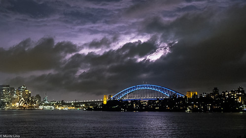 Another lightning strike over Sydneys Harbour Bridge