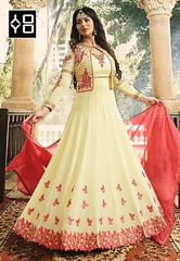 Beige & Peach Embroidered Anarkali Suit #YOYOFashion Online Shopping. (yoyo_fashion) Tags: suits dress fashion style wedding shopping designer outfitoftheday stylist shoppingonline indianwedding womenfashion ethnic indianfashion offer indianwear ethnicwear designerwear