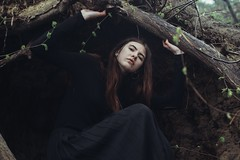 Roots (vlkvaph) Tags: pretty face beauty beautiful cute nature young female woman brunette dark darkness blackdress black sad mood cinematography cinematic melancholic model melancholy atmospheric atmosphere girl canon6d