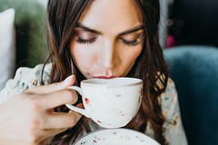 woman drinking using teacup - Credit to https://myfriendscoffee.com/ (John Beans) Tags: coffee cafe coffeebeans shopbeans espresso coffeecup cup drink cappucino latte