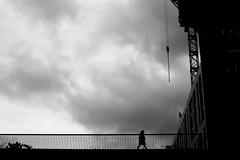 Down (pascalcolin1) Tags: paris13 femme woman ciel sky down enbas pont bridge photoderue streetview urbanarte noiretblanc blackandwhite photopascalcolin 50mm canon50mm canon