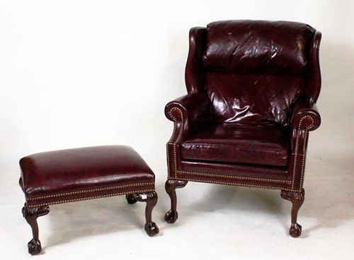 Hankcock & Moore Leather Chair with Ottoman ($392.00)