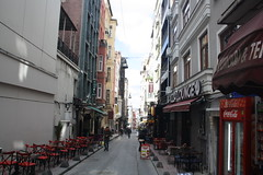 Istanbul Street Scene (lazy south's travels) Tags: istanbul turkey turkish road street scene galata building architecture urban bar restaurant table