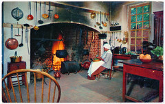 Williamsburg, Virginia - Governor's Palace Kitchen (pepandtim) Tags: old early postcard nostalgia nostalgic williamsburg virginia governor palace kitchen colonial mirro krome crocker san francisco outbuilding royal food cooked open fire servants 56wll78