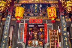 Altar to Mazu at Thian Hock Keng or Tianfu temple in Chinatown, Singapore (UweBKK (α 77 on )) Tags: altar sacrifice red yellow mazu sea goddess thian hock keng tianfu machopo palace heavenly happiness worship temple chinese chinatown religion religious belief singapore southeast asia sony alpha 77 slt dslr