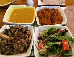 Vegetarian Dinner at Letena (Mr.TinDC) Tags: dc washingtondc columbiaheights letena food ethiopianfood vegetarian sampler dinner salad mushrooms lentils