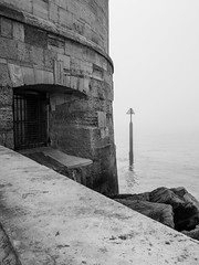 Round Tower Southsea-F4170756 (tony.rummery) Tags: blackandwhite channel em5mkii historicbuilding mft microfourthirds mist omd olympus portsmouth post roundtower shapes solent southcoast southsea england unitedkingdom
